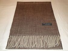 100% Cashmere Scarf Soft 72X12 Brown Tweed Herringbone Scotland Plaid Wool Women