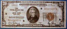 1929 $20 Federal Reserve Bank Note ~ Brown Seal ~ Bank of New York F-1870B