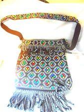 Vintage Western 70's Beaded Brown Fringe Handbag Shoulder Bag Purse