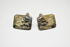 VINTAGE MENS CUFFLINKS 925 STERLING SILVER MOUNT FUJI JAPAN okinawa japanese