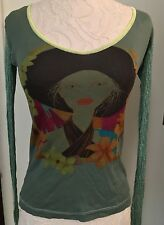 CUSTO BARCELONA Size 3 (Medium) artsy Knit Top Quirky Lady Print Mixed Media