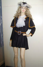 LADIES HIGHWAY HIGH WAY PIRATE DICK TURPIN FANCY DRESS COSTUME SIZE M 10-14 USED