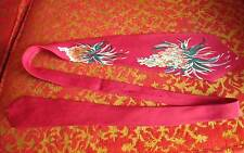 "54"" True Vtg 40s VALET 100% SILK PRINTED RED DECO MENS NECK TIE"