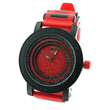 MENS ICED OUT HIP HOP BLING RED/BLACK ICE MASTER BULLET BAND WATCH