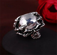 Men Stainless Steel Silver Fashion Gothic Skull Male Finger Ring Size-11