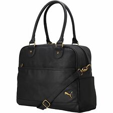 NEW WITH TAG Puma women's Remix Carryall PU leather bag, black with gold accents
