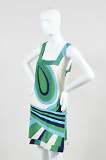 Julie Brown NWT $305 Green Blue Cream Silk Swirl Print Sleeveless Dress SZ 10