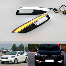 1Pair White+Yellow Daytime Running Light Turn Signals For KIA K3/Forte 2013-2016