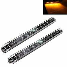 "2 Clear Amber 17"" Sealed LED Waterproof Turn Signal Truck Trailer Light Bars"