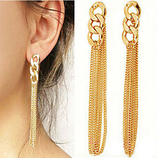 Charm Cute Tassel Pendant Ear Stud Dangle Elegant Gold Plated Earrings