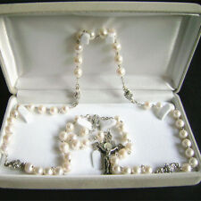 925 Sterling Silver Real Pearl Beads CATHOLIC ROSARY CROSS NECKLACE GIFT BOX