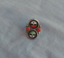 Vintage Silver Zuni Inlay Coral MOP Jet Green Turquoise? Sun Faces Ring Sz 6 1/2