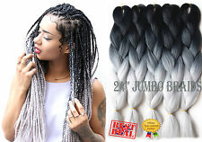 "5x Packs 24"" Black & Light Grey Ombre Dip Dye Kanekalon Braiding Hair Extensions"