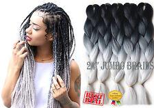"""Paquetes de 5x 24"""" negro y gris claro Ombre Dip Tinte Kanekalon Trenzado extensiones de cabello"""