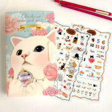 Choo Choo White Cat Stickers Pack Diary Organizer Decoration Stickers - 8 Sheets