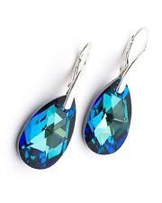 Swarovski Elements Crystal ALMOND DROP Sterling Silver Leverback Dangle Earrings