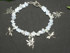 Fairy & Dragonfly Blue Lace Agate Gemstone Charm Bracelet - Pagan, Witchcraft