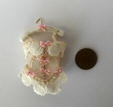 1:12  Dolls House miniature Handmade  CREAM / PINK LACE LADIES CORSET ON HANGER