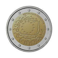 """France 2 Euro commemorative coin 2015 """"30 Years of EU Flag"""" UNC"""