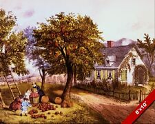 AMERICAN COUNTRY HOME & FALL APPLE HARVEST PAINTING FOLK ART REAL CANVAS PRINT