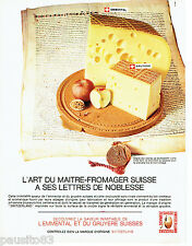 PUBLICITE ADVERTISING 036  1965  Emmenthal & Gruyère Switzerland charte Burgdorf