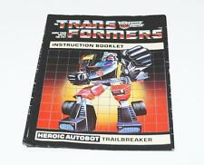 Trailbreaker Action Figure Robot Instruction Manual 1984 Hasbro G1 Transformers