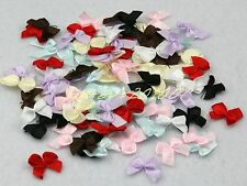 200pcs satin ribbon bow appliques mixed