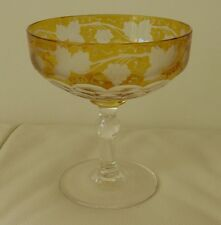 "MOSER BOHEMIAN AMBER GRAPE VINE FACETED CRYSTAL CHAMPAGNE GLASS  4 1/4"" TALL"