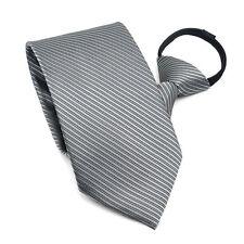 Classic  Men Narrow Necktie Neck Tie Striped Zipper Zip Up