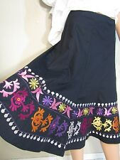 """Vtg Insp 50s Style Mexican Circle Skirt Embroidered Midi S 28"""""""