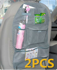 2pcs Grey Car Auto Back Seat Organizer Holder Multi-Pocket Travel Storage Bag