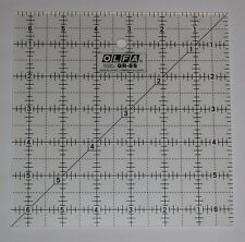 """OLFA Non Slip Frosted Acrylic Quilting Ruler 6.5"""" x 6.5"""" Fabric Paper QR-6S"""