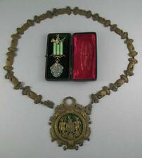 Antique Ancient Order of Foresters Chain of Office + Silver Enamel Jewel 1909