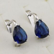 Hot Simple Pear Blue Sapphire Topaz Jewelry Gold Filled Huggie Earrings H1811