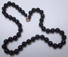 Petit collier bijou vintage perles porcelaine noire attache couleur or 3298