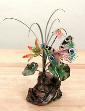 Butterfly with Flowers Enameled Copper Tabletop Sculpture #FM10 by Bovano