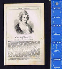 Martha Washington Former First Lady- 1855 Page of History Wood Engraved Portrait