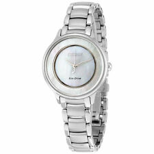 NEW WOMENS CITIZEN ECO-DRIVE (EM0380-81D) CIRCLE OF TIME MOP DIAL SILVER WATCH