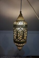 VTG BRASS PENDANT LIGHT FLORAL PIERCED SHADE LAMP CHANDELIER MOROCCAN