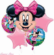 Minnie Mouse Birthday Balloon Bouquet 5 Pc Decoration Party Supply Favors Prizes