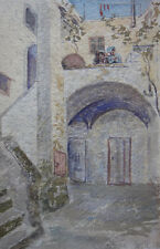 Henny Panduro, watercolor. Female artist. From a yard in Sorento Italy 1896