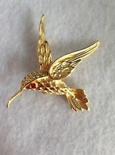 Pretty Gold Tone Hummingbird Pin