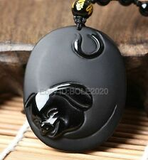 100% Natural Black Obsidian Carved Chinese Zodiac Pig Pendant + Beads Necklace