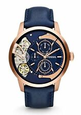 New Fossil Townsman Blue Leather Strap Automatic Multi Dial Men' s Watch ME1138