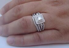 925 STERLING SILVER LADIES WEDDING RING & BAND SET W/ 2.50 cts DIAMOND SZ 5-9