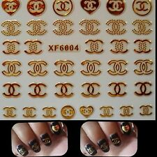 Nail Art 3D Stickers Gold Decal Transfer Shiny Metallic Jewellery Logo XF6004