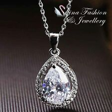 18K White Gold Plated Simulated Diamond Exquisite Clear Pear Drop Necklace