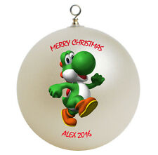 Personalized Custom Super Mario Yoshi Christmas Ornament Gift Add Childs Name