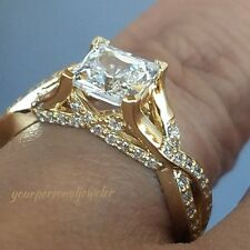 1.75 ct Man Made Diamond Ring 14K yellow Gold Princess Cut Engagement Ring siz 7