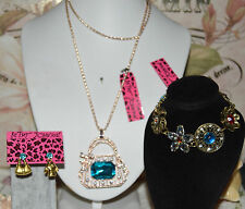 3 PC BETSEY JOHNSON BLUE CRYSTAL HANDBAG BLUE MISMATCH EARRINGS & MULTI BRACELET